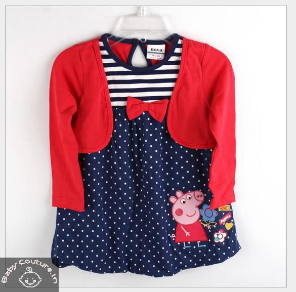 86514ae5782 Striped and Dots Red Peppa Pig Dress-babycouture.in