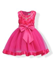3D Rose Lovely Pearls Party Dress-babycouture.in