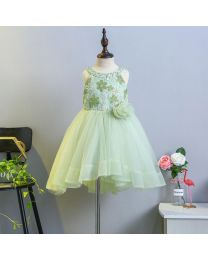 Apple Green Pearls Kids High Low Dress-babycouture.in
