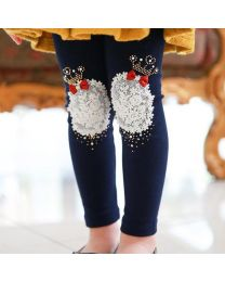 Aakriti Creations Adorable Navy Blue Crown With Bow Design Leggings-babycouture.in