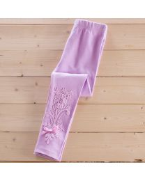 Aakriti Creations Lavender Graceful Lace Work Leggings-babycouture.in