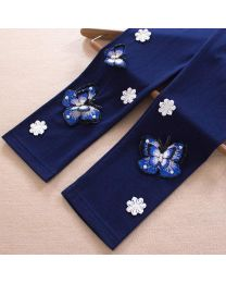 Arka Baby Navy Blue 3D Embossed Butterfly Leggings-babycouture.in