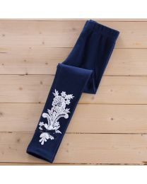 Aakriti Creations White Lace Work Navy Blue Cute Leggings-babycouture.in