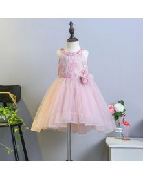 Blush Pink Pearls Kids High Low Dress-babycouture.in