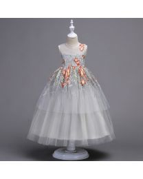 Embroidered Princess Silver Love Kids Dress-babycouture.in