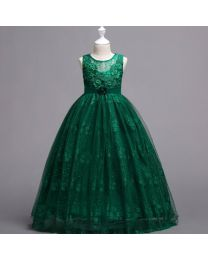 Emerald Green Lovely Lace Kids Gown-babycouture.in