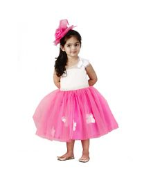 Pink Cow Love Butterfly Kids Party Dress-babycouture.in