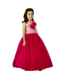 Pink Cow Pearly Flower Kids Gown-babycouture.in