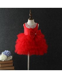 Pretty Red Studded Neckline Tutu Dress-babycouture.in