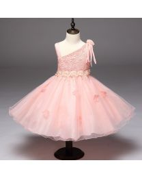 Stylish Peachy Shoulder Love Kids Party Dress-babycouture.in
